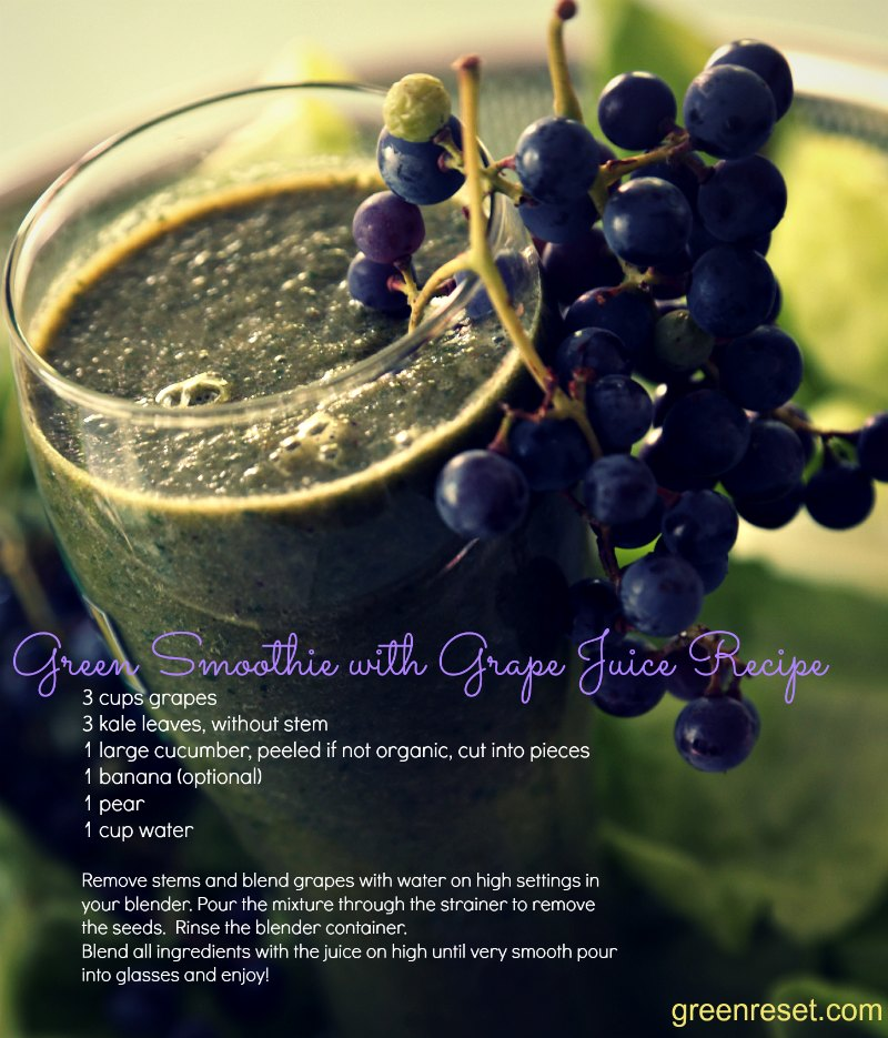 Green Smoothie Recipe with Home-Made Grape Juice (From Self-Grown Grapes!)